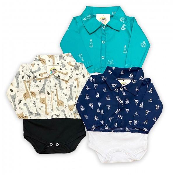 Kit com 3 Body Camisa Social Gola Polo Bebê Menino Atacado